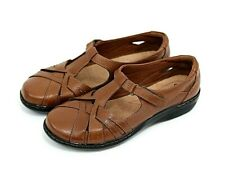 Clarks Collection Soft Cushion Women's Brown leather Shoes Sandals Size 10W