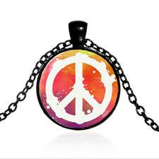Vintage Peace Sign Black Dome glass Photo Art Chain Pendant Necklace