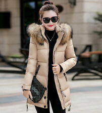 Women Warm Jacket Long Down Jacket Padded Ladies Slim Hooded Parka Coat Winter