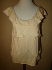 CABI BEIGE TAN TIERED RUFFLE BLOUSE TOP SIZE X SMALL