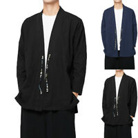 Mens Linen Chinese Style Hiphop Loose Cardigan Kimono Shirts Long Sleeve Tops