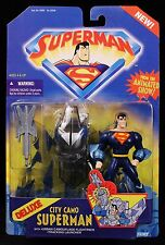 """1997 KENNER SUPERMAN ANIMATED SERIES CITY CAMO SUPERMAN 5"""" DELUXE FIGURE MOC"""