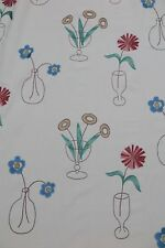 "SANDERSON CURTAIN FABRIC ""Cut Flowers"" EMBROIDERED 3.5 METRES STRAWBERRY/CREAM"