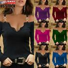 Women's Cold Shoulder Sexy Blouse T-shirt Ladies V Neck Long Sleeve Top Pullover
