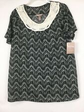 fb49bbd98d8f8 Womens Size Large 12-14 White Stag Knit Top Shirt Macrame Black Print