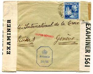 "Malta 1943 3d. on Civilian Mail cover to Red Cross, Switzerland. Censor ""DD/25"""