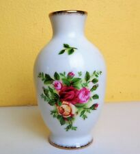 "ROYAL ALBERT Flowers Painted Vase Gold Trim 4"" Tall"