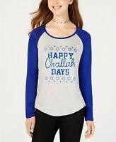 Rebellious One Happy Challah Days Graphic Baseball T-Shirt Size M