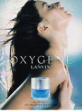 PUBLICITE ADVERTISING 045  2000  LANVIN parfum femme OXYGENE