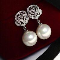 Elegant Korean New Fashion Women Fresh Water Pearl Stud Silver Earrings Jewelry