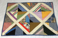 Vintage Patchwork Quilt Table Topper, Squares, Triangles, Calico Prints, Checks