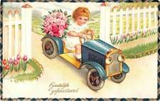 Dutch Hearty Congratulations little girl in toy car flowers antique pc Y13116