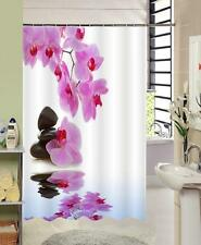 Pink Orchid Flowers Pebble Reflected in Water Bathroom Shower Curtain