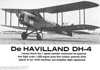 "Model Airplane Plans (FF): DeHAVILLAND DH-4 1/12 Scale 42""ws for .020 Engine"