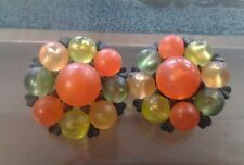 Vintage Multicolor cluster Clip on Earrings Harvest Colors Made West Germany