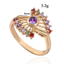 Peacock Feather Zircon Gold Plated Ring Size 6 Wedding Band Women Yellow