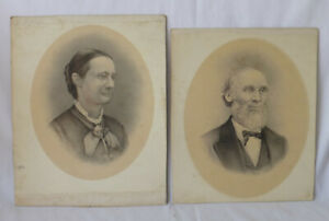 19th Century Charcoal Pastel Oval Portraits Named Ohio Farm Couple WEBSTER Luman