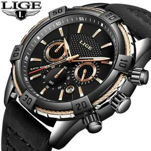 Wristwatch LIGE Mens Wristwatches Top Brand Luxury Men Casual Leather Waterproof
