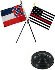 "Mississippi State & USA Fire Red  4""x6"" Flag Desk Set Table Stick Black Base"