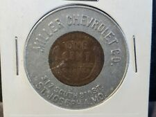 1948 Miller's Chevrolet Co St Joseph MO Encased Coin Cent Lucky Penny Missouri