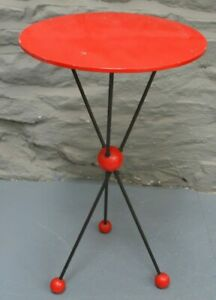 1950/60s retro atomic style hairpin base occasional side table. Early flatpack.