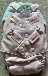 3 x Bambooty Easy One Size all in one modern cloth nappies MCNs