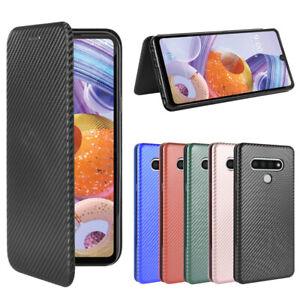 For LG Flip Carbon Fiber Stand Leather Wallet Magnetic Phone Case &Tempered Film