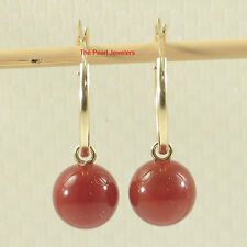 14k Yellow Gold 15mm X 1.25mm Hoop Set 8.5mm Red Carnelian Dangle Earrings TPJ