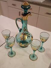 Vintage Aqua teal Blue Gold Flower Stem Glass Decanter liquor set 4 glasses