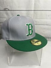 Boston Red Sox New Era 59Fifty Fitted Ball Cap Size 7 1/2 Gray & Green NWT
