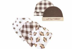 Hudson Baby Thanksgiving Boy 5 pc Set Caps & Bibs 0-6 Months NWT *Little Turkey*