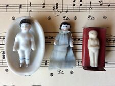 Antique Mini 3 Frozen Charlotte China Dollhouse Dolls Tub Tin Bed German Bisque