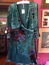 Exquisite Free People Green Floral Velvet Wrap Dress Large Size 12-14 NWT