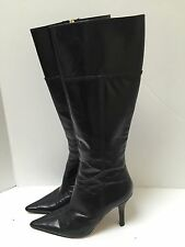 Women's Kate Spade Tall Black Leather Zip Up Heel Boots