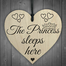 The Princess Sleeps Here Wooden Hanging Heart Bedroom Plaque Girls Door Sign