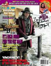 WWE BRET THE HITMAN HART HAND SIGNED AUTOGRAPHED WRESTLING MAGAZINE WITH COA