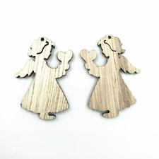 50pcs Angel Wooden Pendant Natural wood Decoration Kid's Handicrafts 32mm