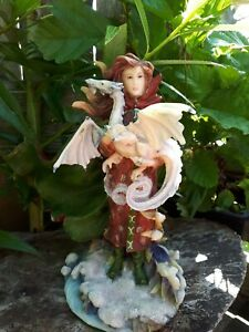 """Bergsma """"Release Dream"""" Cloaked Lady & Dragon Statue ColdCast Resin Boxed"""