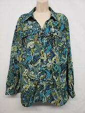 Studio Works Woman's Long Sleeve Button Top - Blue Paisley 2X