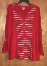Women's XL Stretch knit Henley top - Red