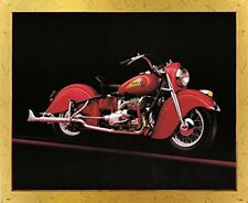 Vintage Red Indian Motorcycle Road master Wall Decor Golden Framed Art Picture