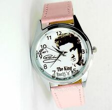 ELVIS PRESLEY WATCH STEEL LEATHER MUSIC KING LEGEND ROUND CD PINK STRAP WATCH E0