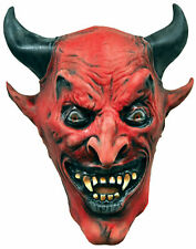 Devil Demon Adult Classic Red Mask With Black Horn & Eyes Distortions