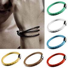 1 pc Unisex Men's Genuine Braided Leather Steel Magnetic Clasp Bracelet