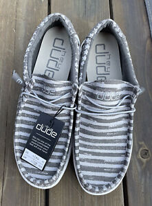 Hey Dude Wally Stars n Stripes, Gray/White New, Mens 12, HARD TO FIND, Free Ship