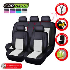 Universal Car Seat Covers White Black Leather Airbag Ready Rear Split For Car