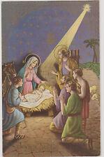 MAGNIFIQUE CARTE DE NOEL/BERGERS ET AGNEAUX-CRECHE(JESUS-MARIE-JOSEPH) BOEUF