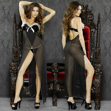 Plus Size 3X Black Long Gown with Matching G-String Lingerie F-0011XB