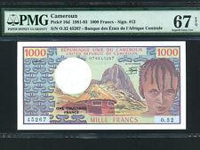 Cameroun:P-16d,1000 Francs,1981 * CAMEROON * PMG Superb Gem UNC 67 EPQ *