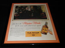 1937 Old Taylor Whiskey Framed 11x14 ORIGINAL Vintage Advertisement